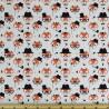 100% Cotton Poplin Fabric Rose & Hubble Fancy Little Fox Faces Foxes