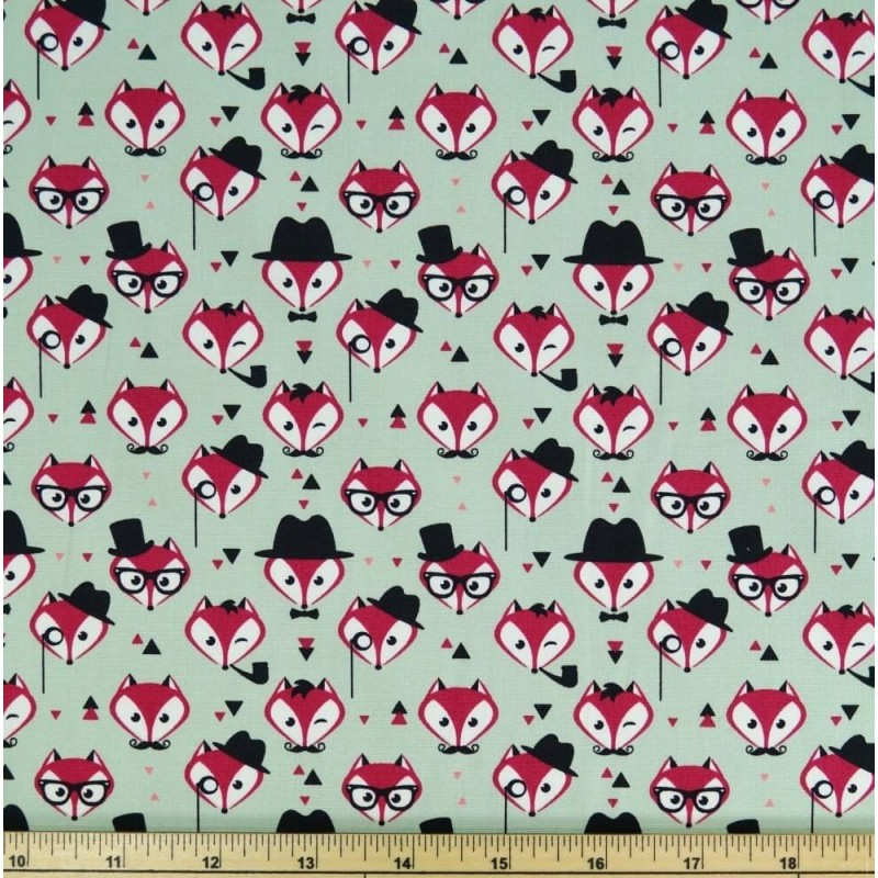 Green 100% Cotton Poplin Fabric Rose & Hubble Fancy Little Fox Faces Foxes