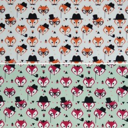 100% Cotton Poplin Fabric Rose & Hubble Fancy Little Fox Faces Foxes