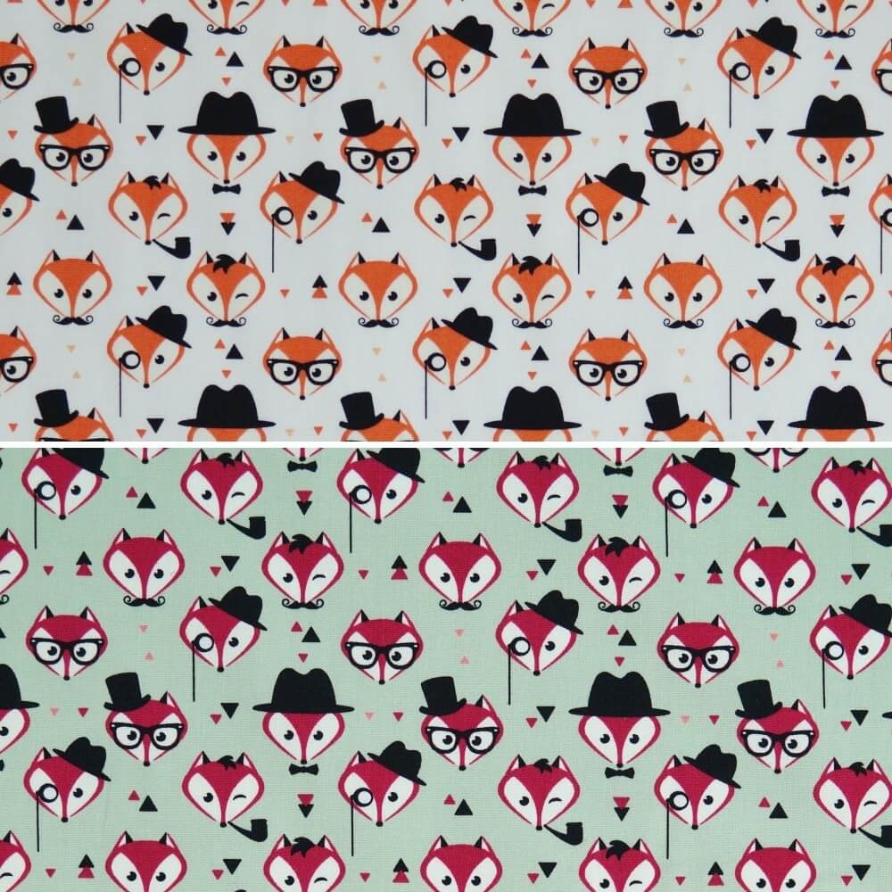 Green 100% Cotton Poplin Fabric Rose & Hubble Fancy Little Fox Faces Foxes