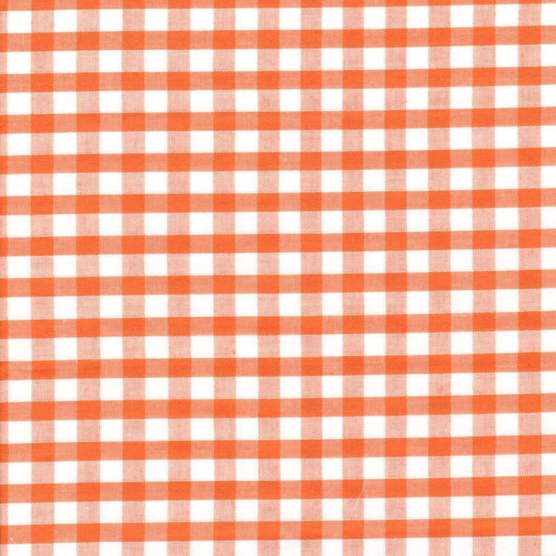 "Polycotton Fabric 1/4"" Gingham Orange"