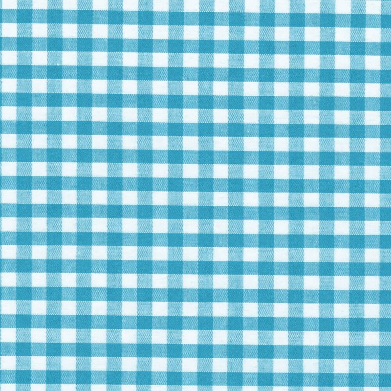"Polycotton Fabric 1/4"" Gingham Turquoise"
