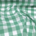 """1"""" Checked Gingham Polycotton Fabric Summer Green"""