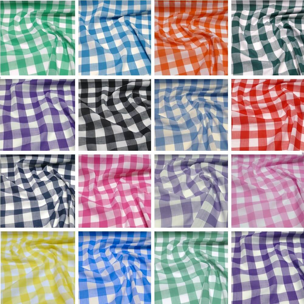 "1"" Checked Gingham Polycotton Fabric Summer Green"