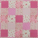 Polycotton Patchwork Floral Ditsy Flowers Squares Bows Fabric Pink