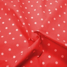Pea Spot Polka Dots Spots Polycotton Fabric Red