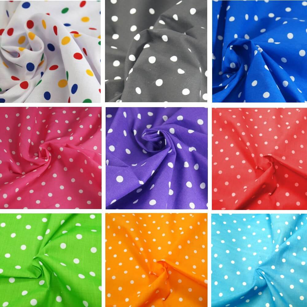 Pea Spot Polka Dots Spots Polycotton Fabric Multi Coloured