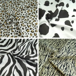 Polycotton Fabric Animal Print Tiger, Zebra, Leopard & Cow Craft
