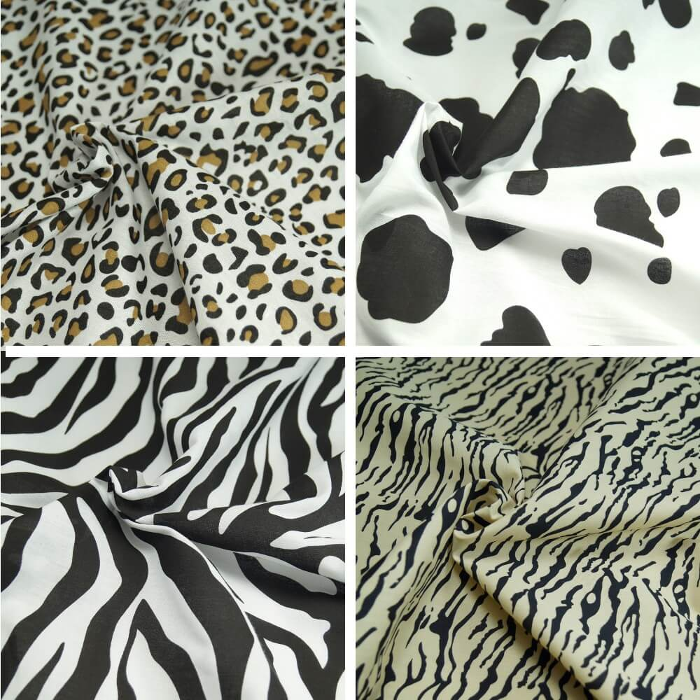 Polycotton Fabric Animal Print Cow