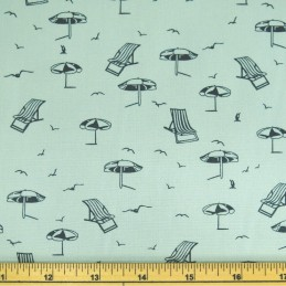 100% Cotton Poplin Fabric by Fabric Freedom Beach Deckchairs & Parasols