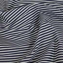 3mm Candy Stripes On White Polycotton Fabric Navy