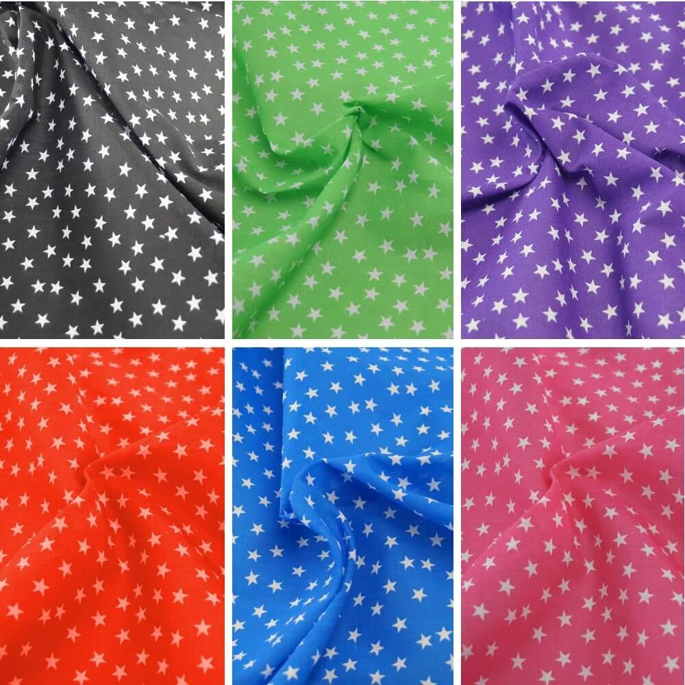 Polycotton Fabric Mini Stars 10mm Craft Dress Material Black