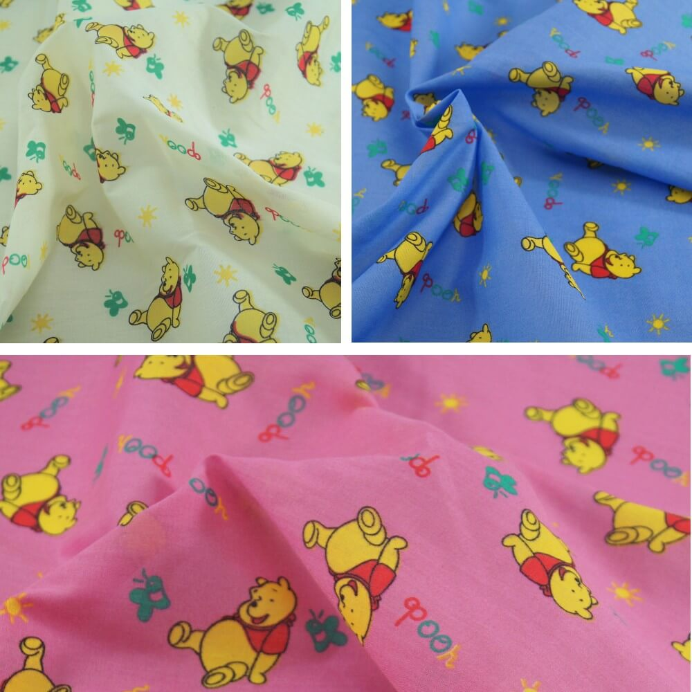 Polycotton Fabric Winnie The Pooh Pink