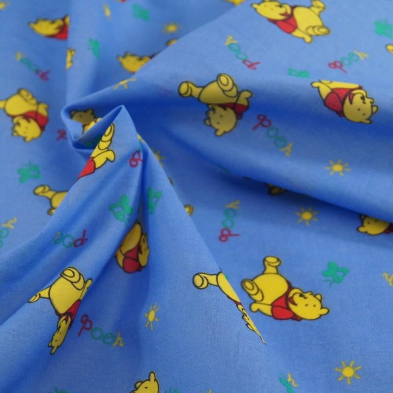 Polycotton Fabric Winnie The Pooh Blue