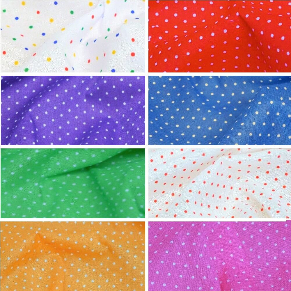 Polycotton Fabric Pin Spot Polka Dots Dotty Dress Craft Blue