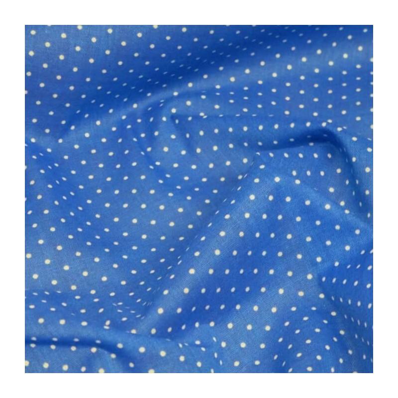 Polycotton Fabric Pin Spot Polka Dots Dotty Dress Craft Blue