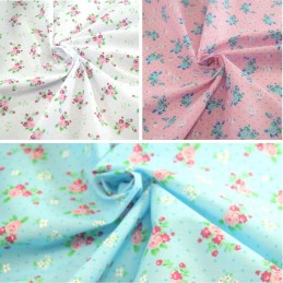 Polycotton Fabric Roses & Polka Dots Spots Flowers Floral