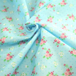Polycotton Fabric Roses & Polka Dots Spots Turquoise