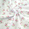 Polycotton Fabric Roses & Polka Dots Spots White