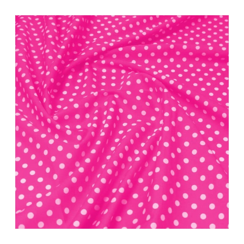 100% Cotton Poplin Fabric Rose & Hubble 7mm Polka Dots Spots Candy Pink