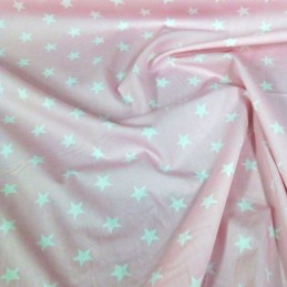 100% Poplin Cotton Fabric Rose & Hubble 20mm Stars Star Pink