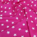 100% Poplin Cotton Fabric Rose & Hubble 20mm Stars Star Cerise