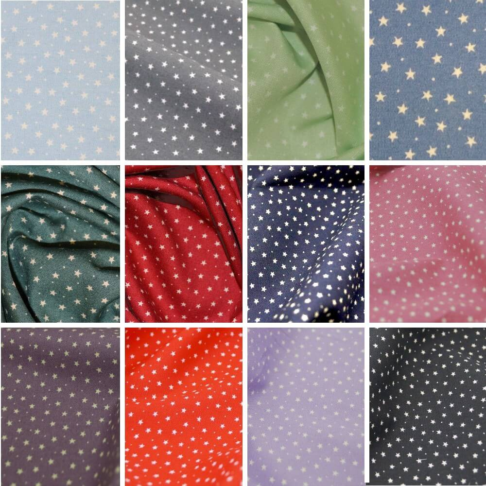 100% Cotton Poplin Fabric Rose & Hubble 3mm Stars & Spots Blue