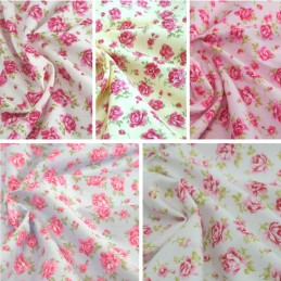 100% Cotton Poplin Fabric Rose & Hubble Roses Summer Happiness