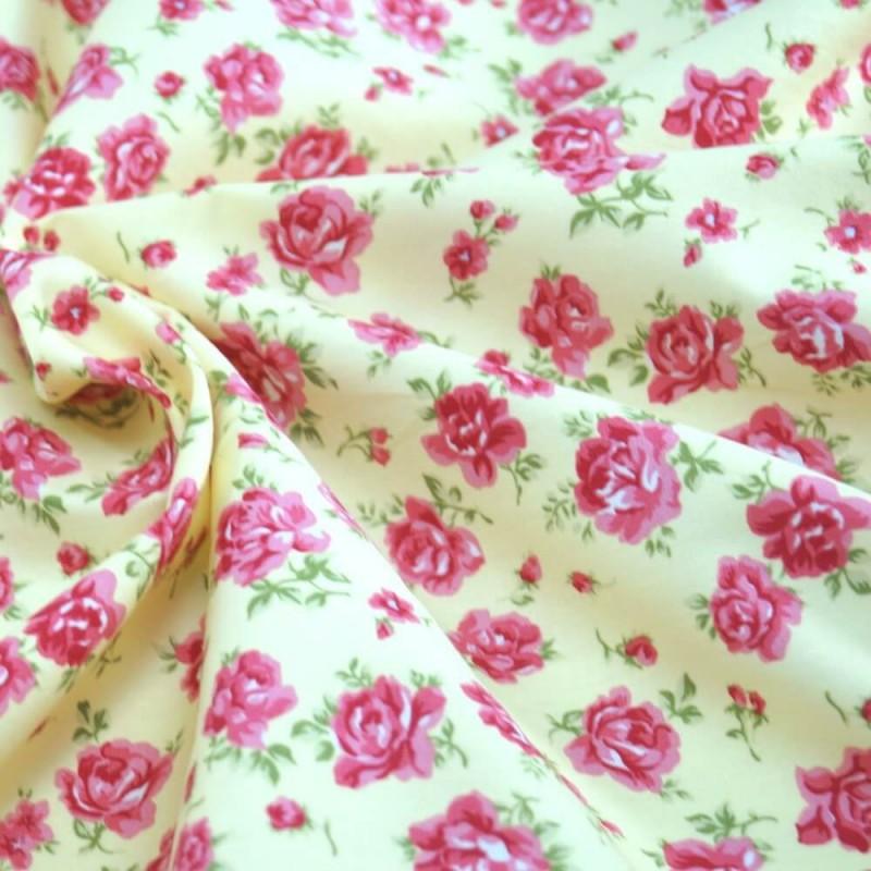 100% Cotton Poplin Fabric Rose & Hubble Roses Summer Happiness Lemon Yellow