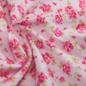 100% Cotton Poplin Fabric Rose & Hubble Roses Summer Happiness Pink