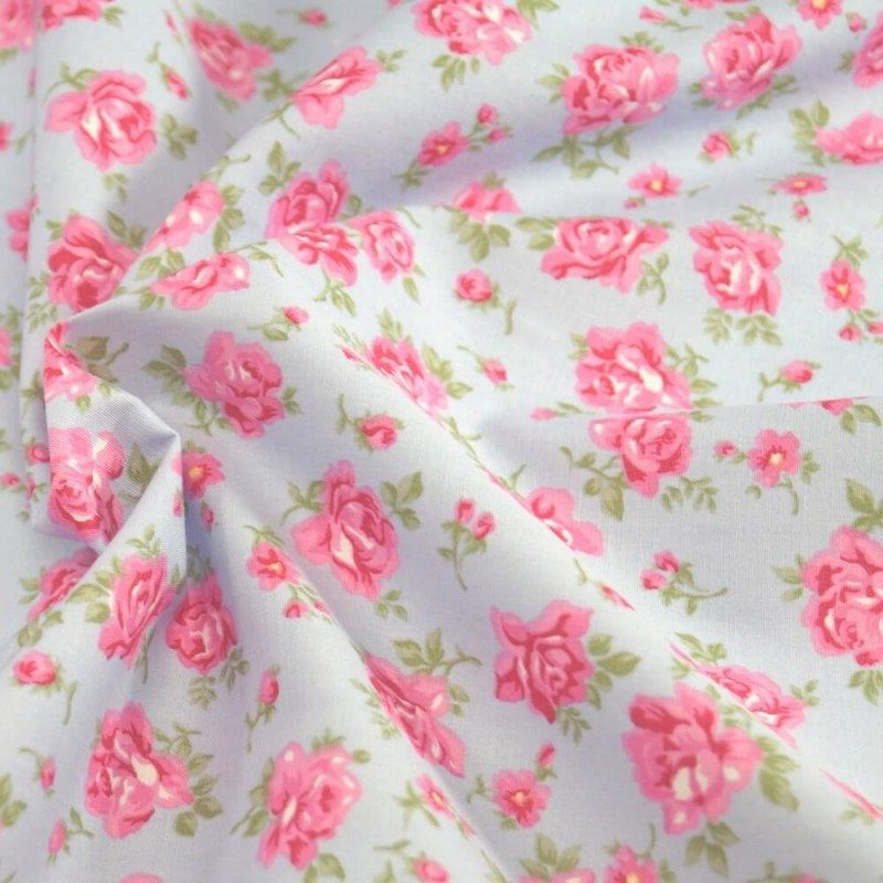 100% Cotton Poplin Fabric Rose & Hubble Roses Summer Happiness Sky Blue