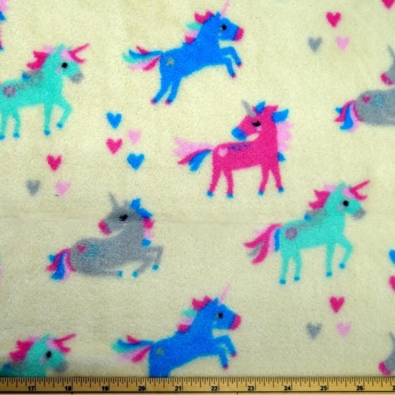 Majestic Prancing Unicorns and Floating Hearts 147cm Super Soft Cuddle Fleece Cream