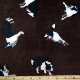 Super Soft Cuddle Fleece Cute Border Collie Dogs 147cm Wide Brown