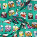100% Cotton Poplin Fabric Rose & Hubble VW Camper Van Vehicles In Lines Mint Green