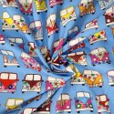 100% Cotton Poplin Fabric Rose & Hubble VW Camper Van Vehicles In Lines Pale Blue