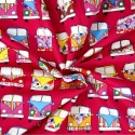 100% Cotton Poplin Fabric Rose & Hubble VW Camper Van Vehicles In Lines Cerise