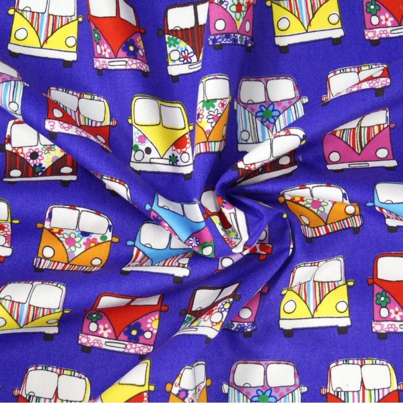 100% Cotton Poplin Fabric Rose & Hubble VW Camper Van Vehicles In Lines Purple