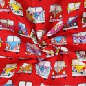 100% Cotton Poplin Fabric Rose & Hubble VW Camper Van Vehicles In Lines Red
