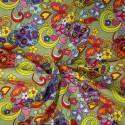 100% Cotton Poplin Fabric Rose & Hubble Mexican Candy Skulls Peace And Swirls Green