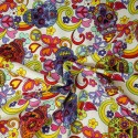 100% Cotton Poplin Fabric Rose & Hubble Mexican Candy Skulls Peace And Swirls White