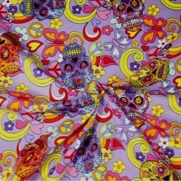 100% Cotton Poplin Fabric Rose & Hubble Mexican Candy Skulls Peace Swirls