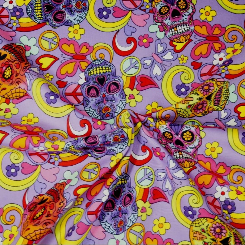 100% Cotton Poplin Fabric Rose & Hubble Mexican Candy Skulls Peace And Swirls Lilac