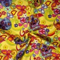 100% Cotton Poplin Fabric Rose & Hubble Mexican Candy Skulls Peace And Swirls Yellow