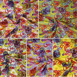 100% Cotton Poplin Fabric Rose & Hubble Mexican Candy Skulls Peace Swirls