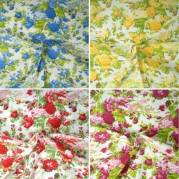 Polycotton Fabric Large Blooming Rose Bouquet Floral Flowers Craft
