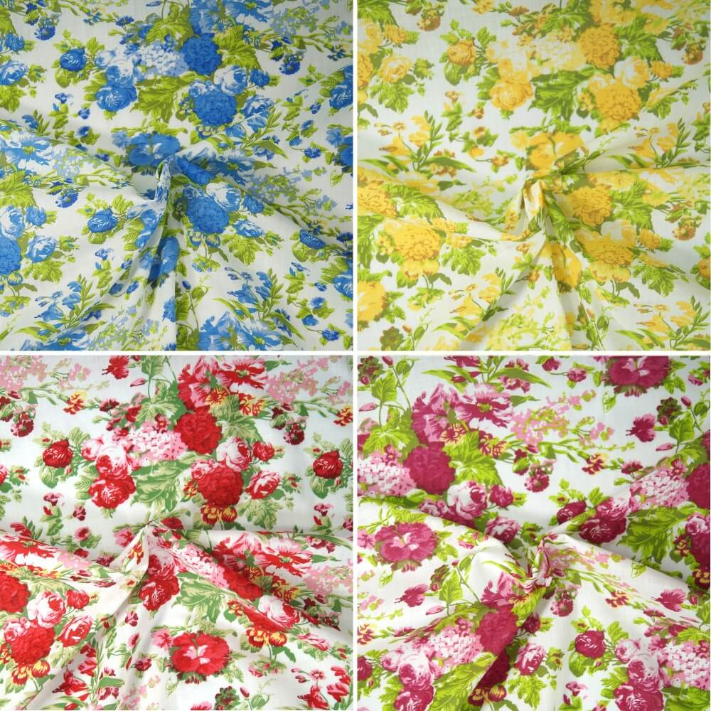 Polycotton Fabric Large Blooming Rose Bouquet Floral Flowers Craft Red