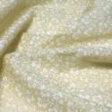 Polycotton Fabric White Floral Ditsy Flowers Pastel Lemon Yellow