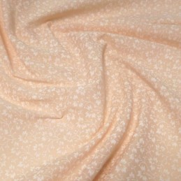 Polycotton Fabric White Floral Ditsy Flowers Pastel Peach