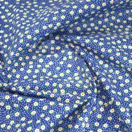 Flowerheads and Spots Polycotton Fabric Blue