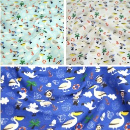 Polycotton Fabric Sailing Nautical Birds Anchors Sailor Boy Pelican